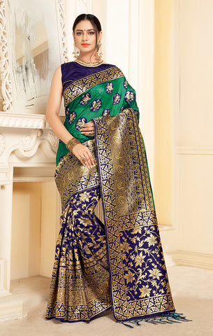 Takshaya Partywear Navy Blue & Green Linen Silk Weaving Saree