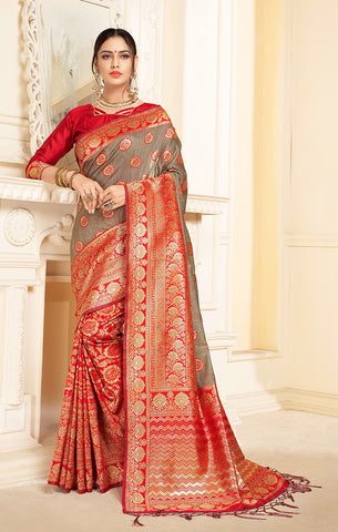 Takshaya Partywear Red & Grey Linen Silk Weaving Saree