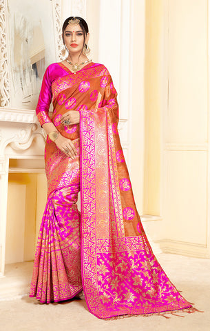 Takshaya Partywear Pink & Orange Linen Silk Weaving Saree