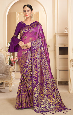 Takshaya Partywear Purple Linen Silk Weaving Saree