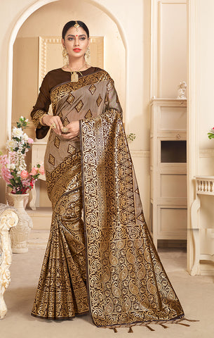 Takshaya Partywear Brown & Gold Linen Silk Weaving Saree