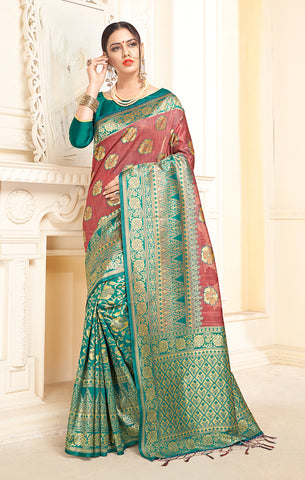 Takshaya Partywear Teal Green & Pink Linen Silk Weaving Saree