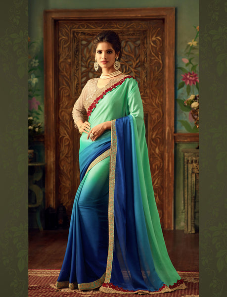 Designer Partywear Wedding Sea Green Silk Embroidered Border Work Saree By Takshaya