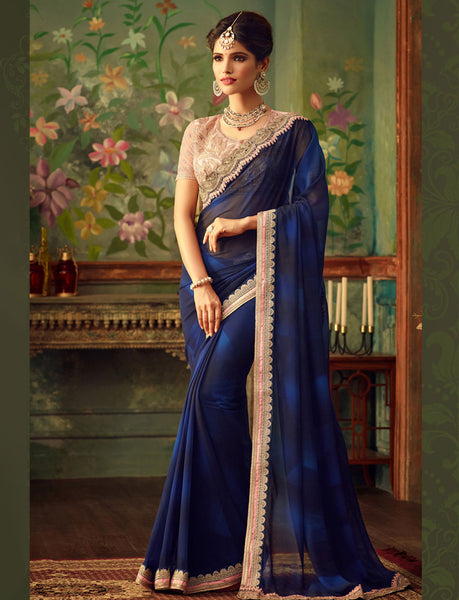 Designer Partywear Wedding Navy Blue Georgette Embroidered Border Work Saree By Takshaya