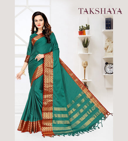 Designer Party Wear Blue Cotton Silk Saree By Takshaya