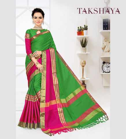 Designer Party Wear Parrot Green Cotton Silk Saree By Takshaya