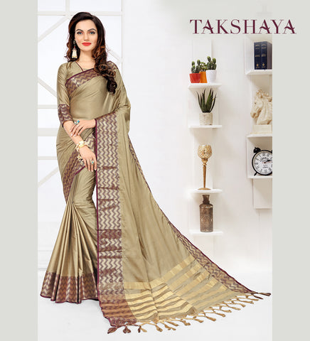 Designer Party Wear Beige Cotton Silk Saree By Takshaya