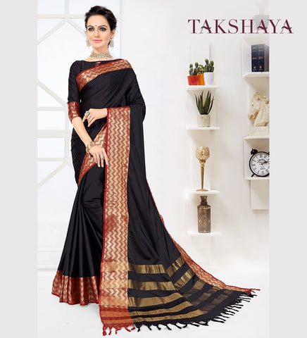 Designer Party Wear Black Cotton Silk Saree By Takshaya