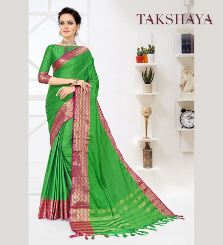 Designer Party Wear Green Cotton Silk Saree By Takshaya