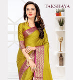 Designer Party Wear Mustard Cotton Silk Saree By Takshaya
