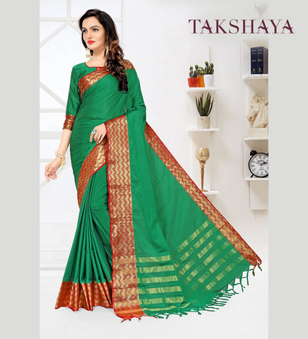 Designer Party Wear Rama Green Cotton Silk Saree By Takshaya