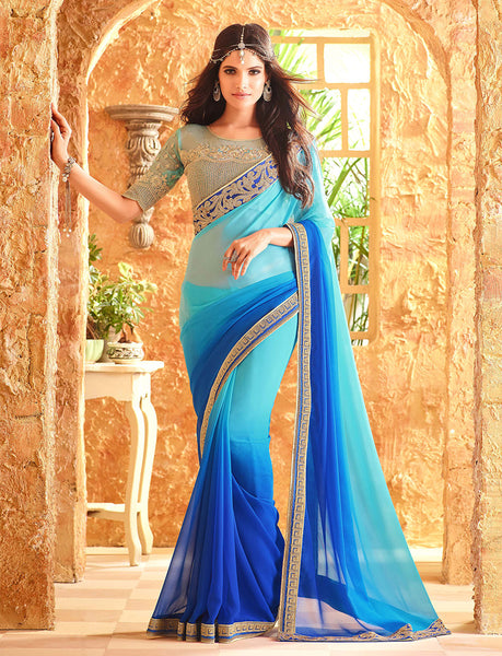 Designer Partywear Wedding Embroidered Pesto Georgette Saree By Takshaya