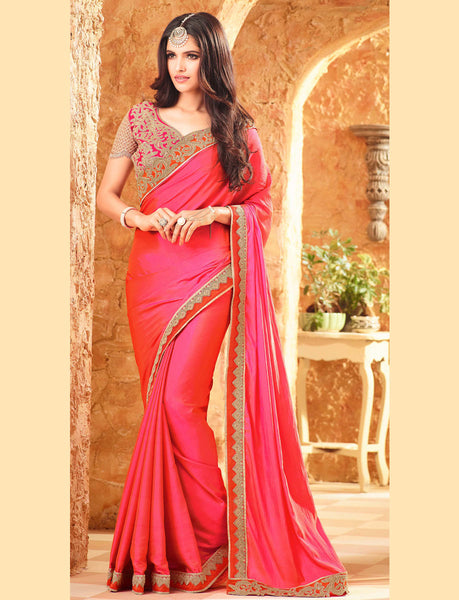 Designer Partywear Embroidered Hot Pink Reception Wear Saree With Zari Lace Work By Takshaya