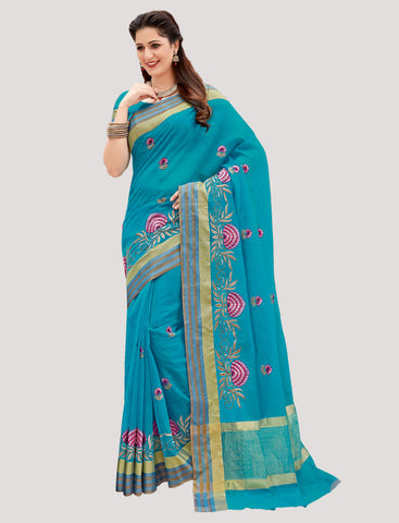 Designer Casual Wear Blue Chanderi Cotton Embroidered Saree By Takshaya