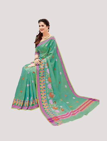 Designer Casual Wear Green Chanderi Cotton Embroidered Saree By Takshaya