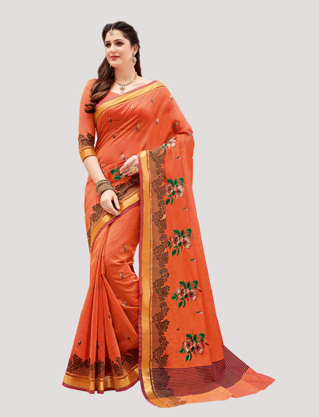 Designer Casual Wear Orange Chanderi Cotton Embroidered Saree By Takshaya