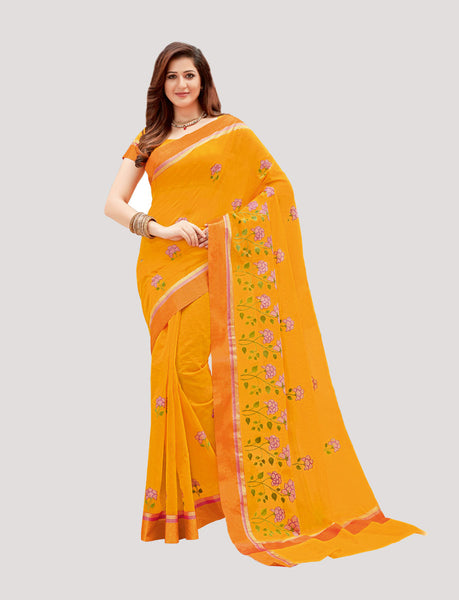 Designer Casual Wear Yellow Super Net Embroidered Saree By Takshaya