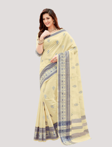 Designer Casual Wear Cream Chanderi Cotton Embroidered Saree By Takshaya