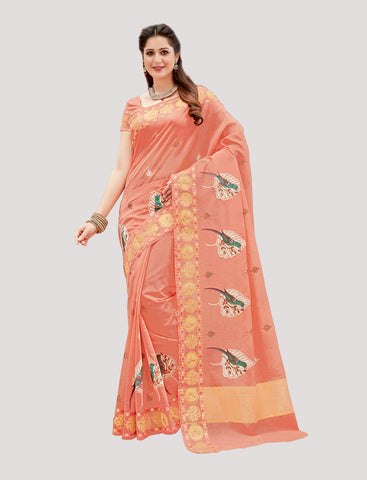 Designer Casual Wear Pink Chanderi Cotton Embroidered Saree By Takshaya