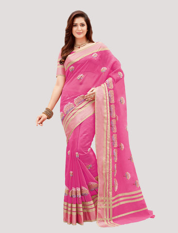 Designer Casual Wear Pink Super Net Embroidered Saree By Takshaya