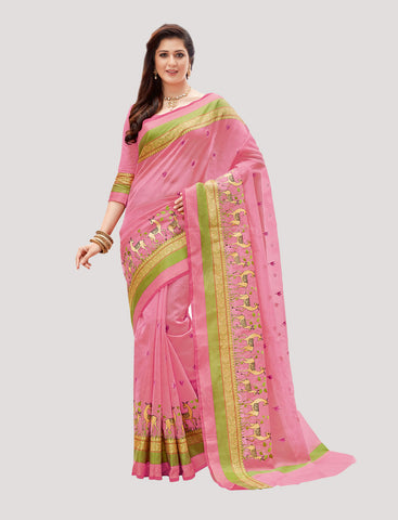 Designer Casual Wear Light Pink Super Net Embroidered Saree By Takshaya