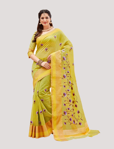 Designer Casual Wear Pista Green Super Net Embroidered Saree By Takshaya