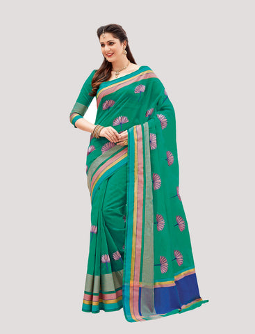 Designer Casual Wear Green Super Net Embroidered Saree By Takshaya