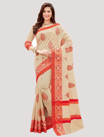 Designer Casual Wear Cream & Red Chanderi Cotton Embroidered Saree By Takshaya