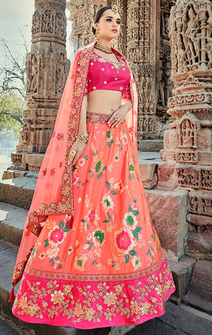 Designer Wedding Wear Semi- Stitched Peach and Magenta Silk Lehenga