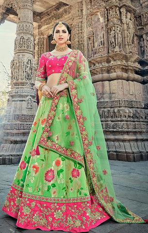 Designer Wedding Wear Semi- Stitched Parrot Green and Magenta Silk Lehenga