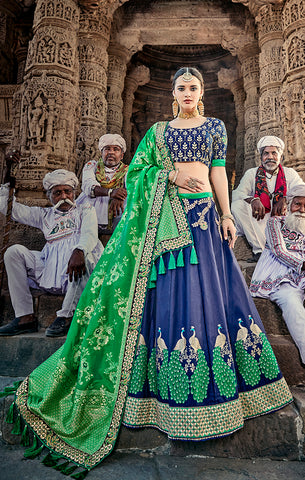 Designer Wedding Wear Semi- Stitched Blue and Green Silk Lehenga