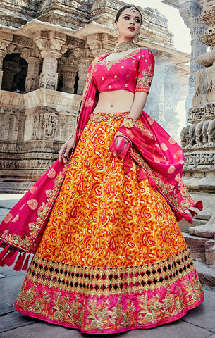 Designer Wedding Wear Semi- Stitched Mustard Yellow and Magenta Silk Lehenga