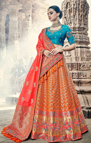 Designer Wedding Wear Semi- Stitched Orange Tomato Red and Blue Silk Lehenga