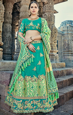Designer Wedding Wear Semi- Stitched Green Silk Lehenga