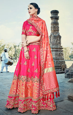 Designer Wedding Wear Semi- Stitched Magenta and Peach Silk Lehenga