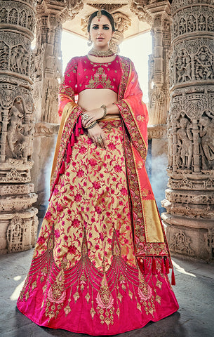 Designer Wedding Wear Semi- Stitched Gold Magenta and Peach Silk Lehenga