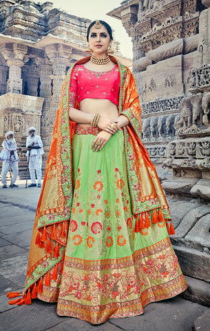 Designer Wedding Wear Semi- Stitched Green Pink and Orange Silk Lehenga