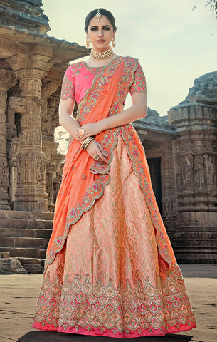 Designer Wedding Wear Semi- Stitched Peach and Pink Silk Lehenga