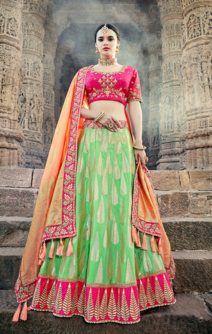 Designer Wedding Wear Semi- Stitched Green Magenta and Peach Silk Lehenga