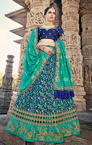 Designer Wedding Wear Semi- Stitched Blue and Sea Green Silk Lehenga