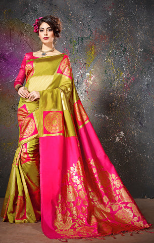 Takshaya Partywear Olive & Pink Cotton Silk  Weaving Saree