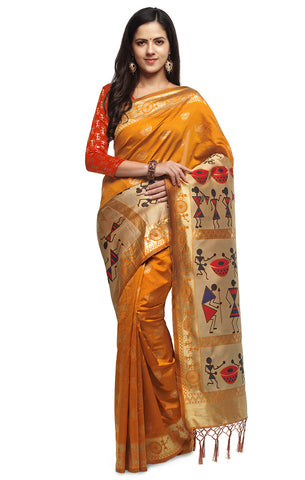 Takshaya Partywear Mustard Cotton Silk Weaving Saree