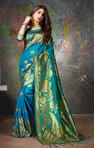 Takshaya Partywear Turquoise Blue Cotton Silk Weaving Saree