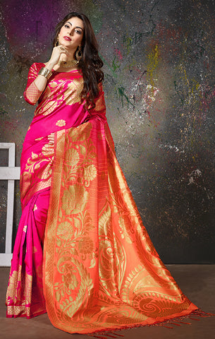 Takshaya Partywear Pink & Peach Cotton Silk Weaving Saree