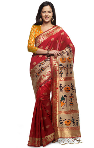 Takshaya Partywear Red Cotton SilkWeaving Saree