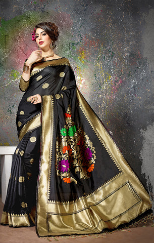 Takshaya Partywear Black Cotton Silk Weaving Saree