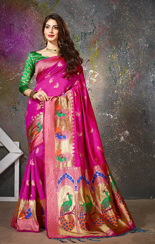 Takshaya Partywear Pink Cotton Silk  Weaving Saree