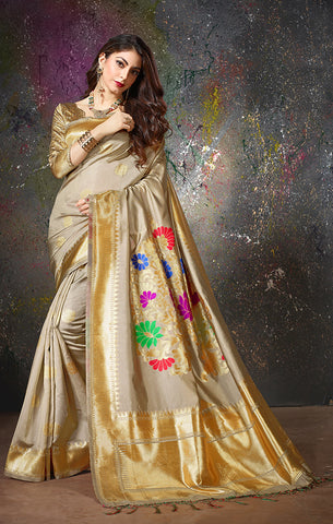 Takshaya Partywear Golden Cotton Silk Weaving Saree