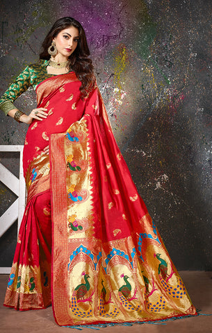 Takshaya Partywear Red Cotton Silk  Weaving Saree