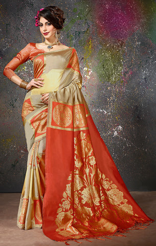Takshaya Partywear Olive & Red  Cotton Silk Weaving Saree